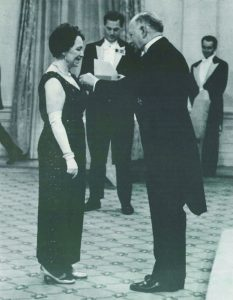 Lucille Desparoisreceiving the Medal for Services from the Order of Canada.