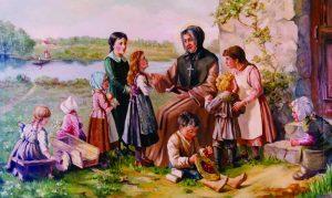 Mère d'Youville entourée d'enfant