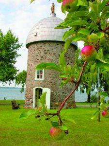 Moulin à vent de l'île Saint-Bernard parmis les branches de pommier