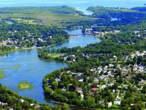 Aerial view of Chateauguay and the river of the same name