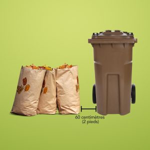 bin with paper bags filled with leaves next to it