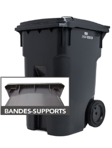 garbage bins with support bands