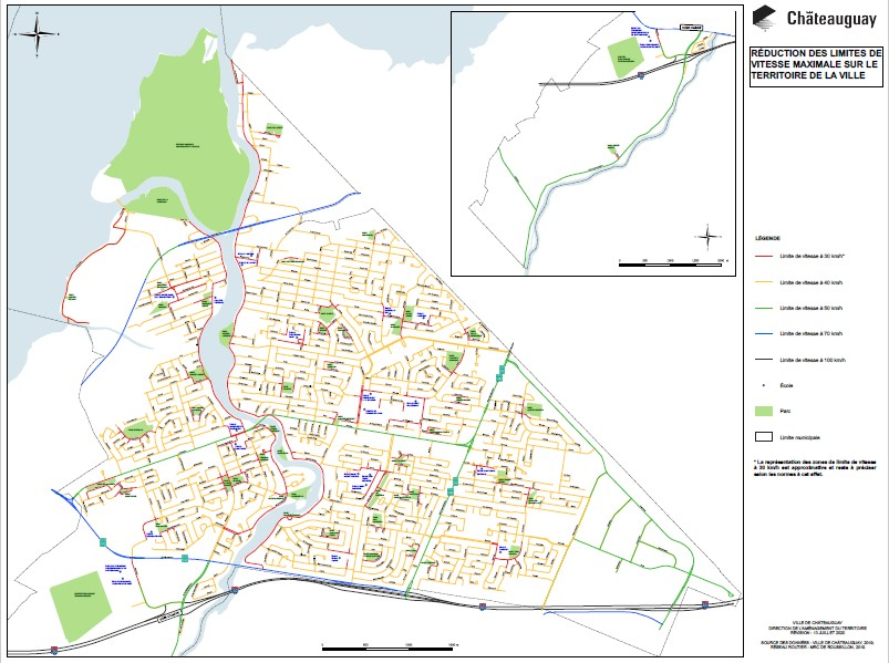 Châteauguay speed limits map
