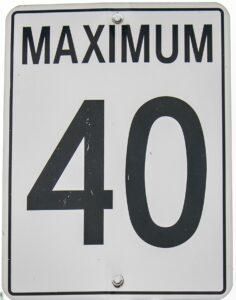 40 km/h speed limit sign
