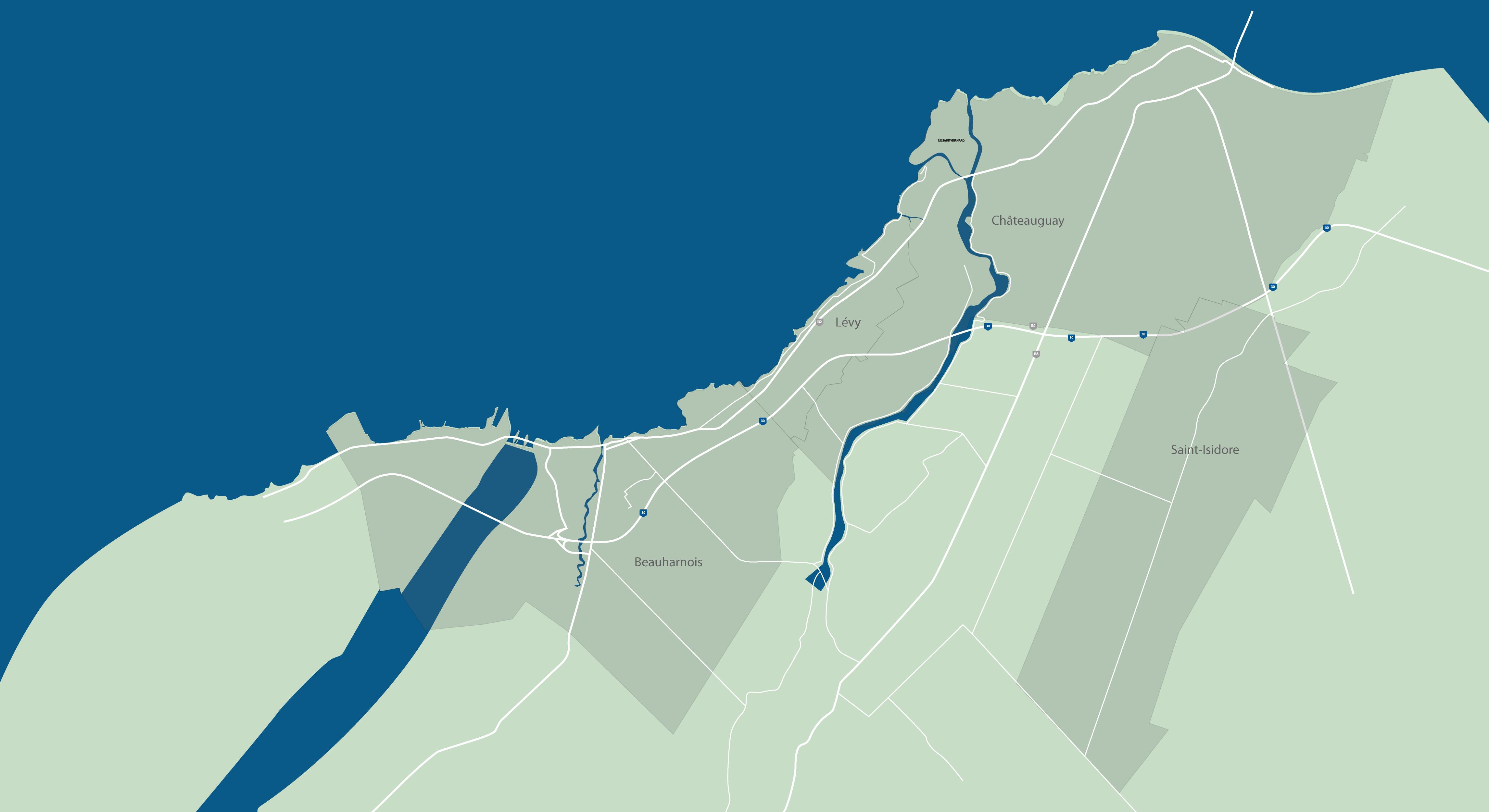Carte du territoire desservi par le Service de police