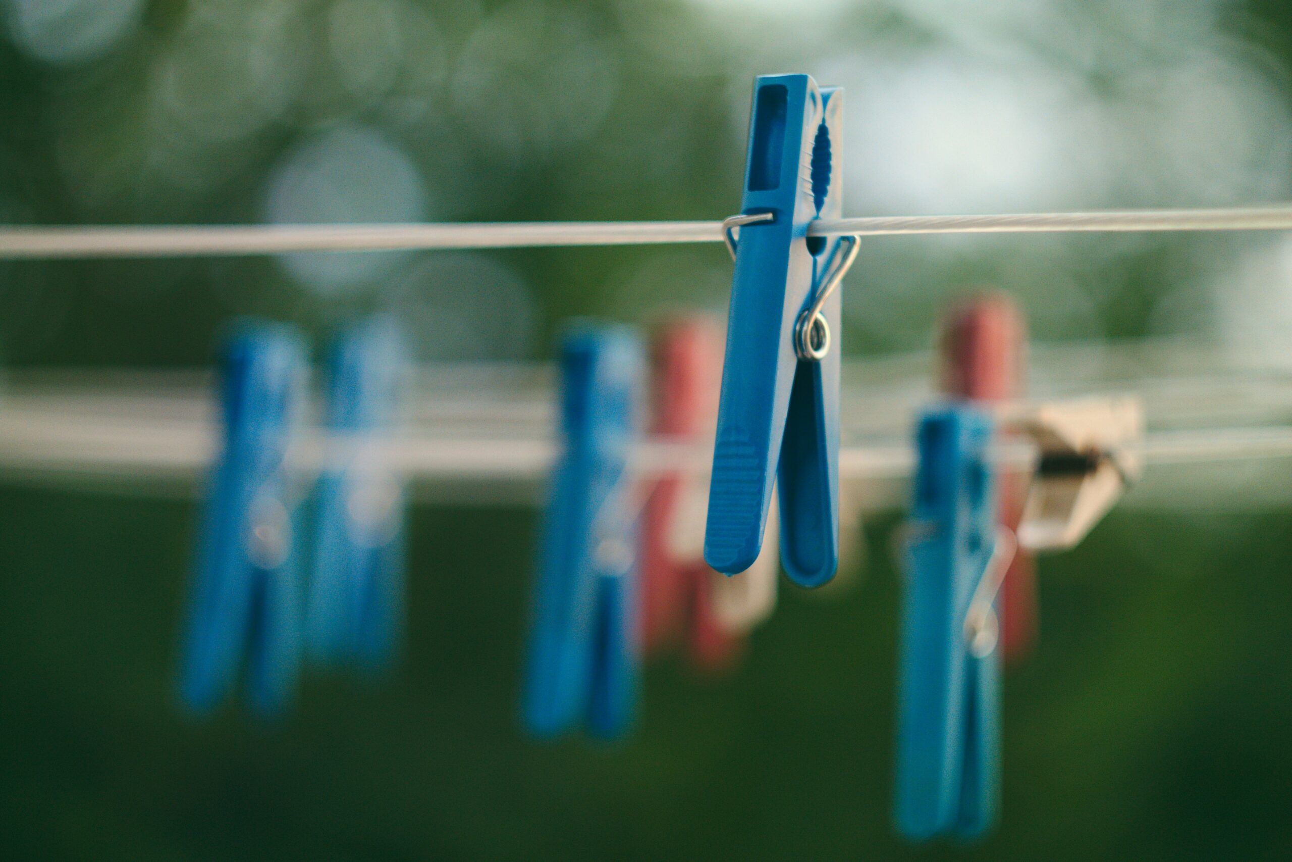 Clothesline with clothes pins