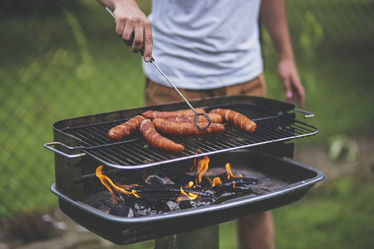 Meat on a barbecue