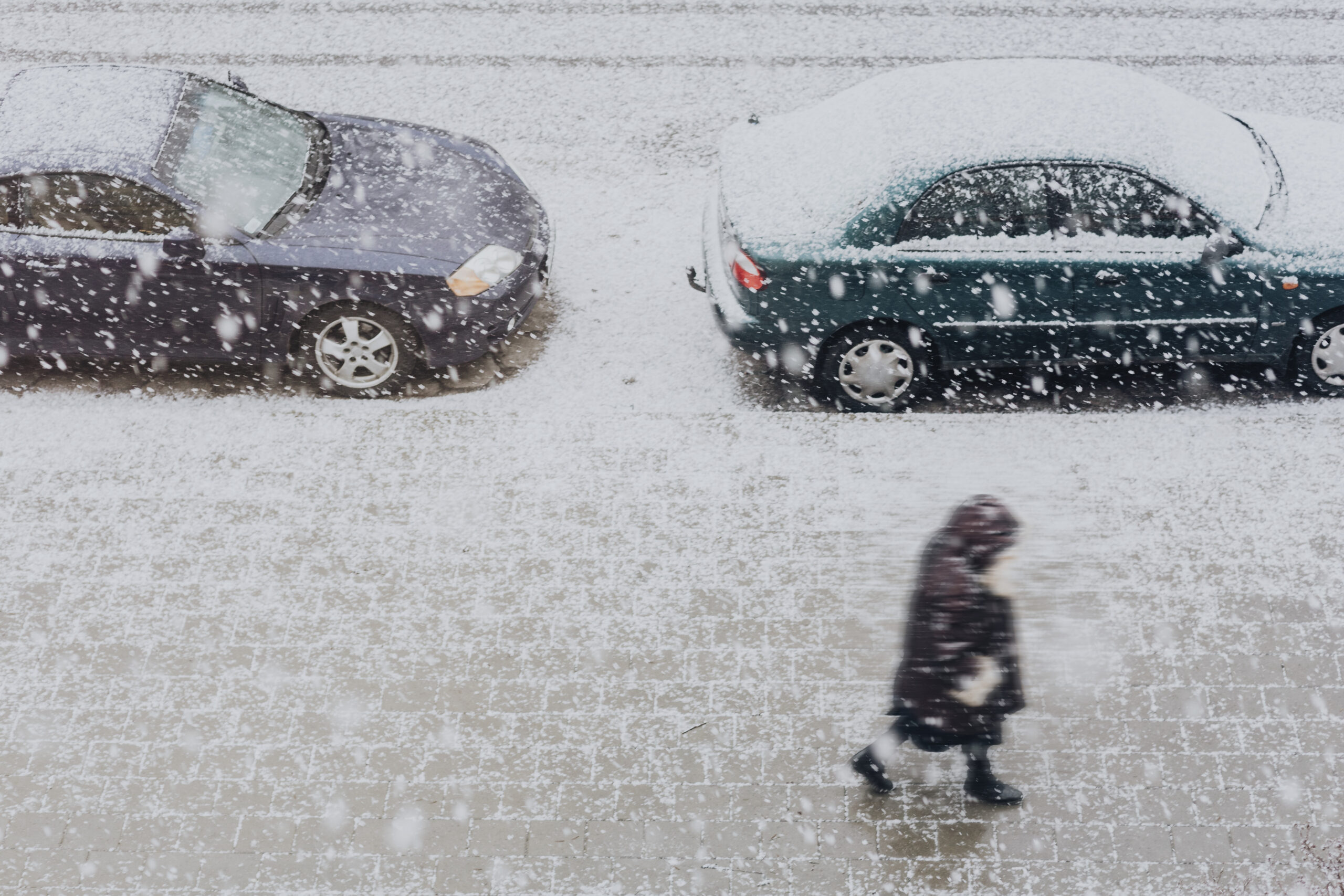 Cars parked in a snow storm