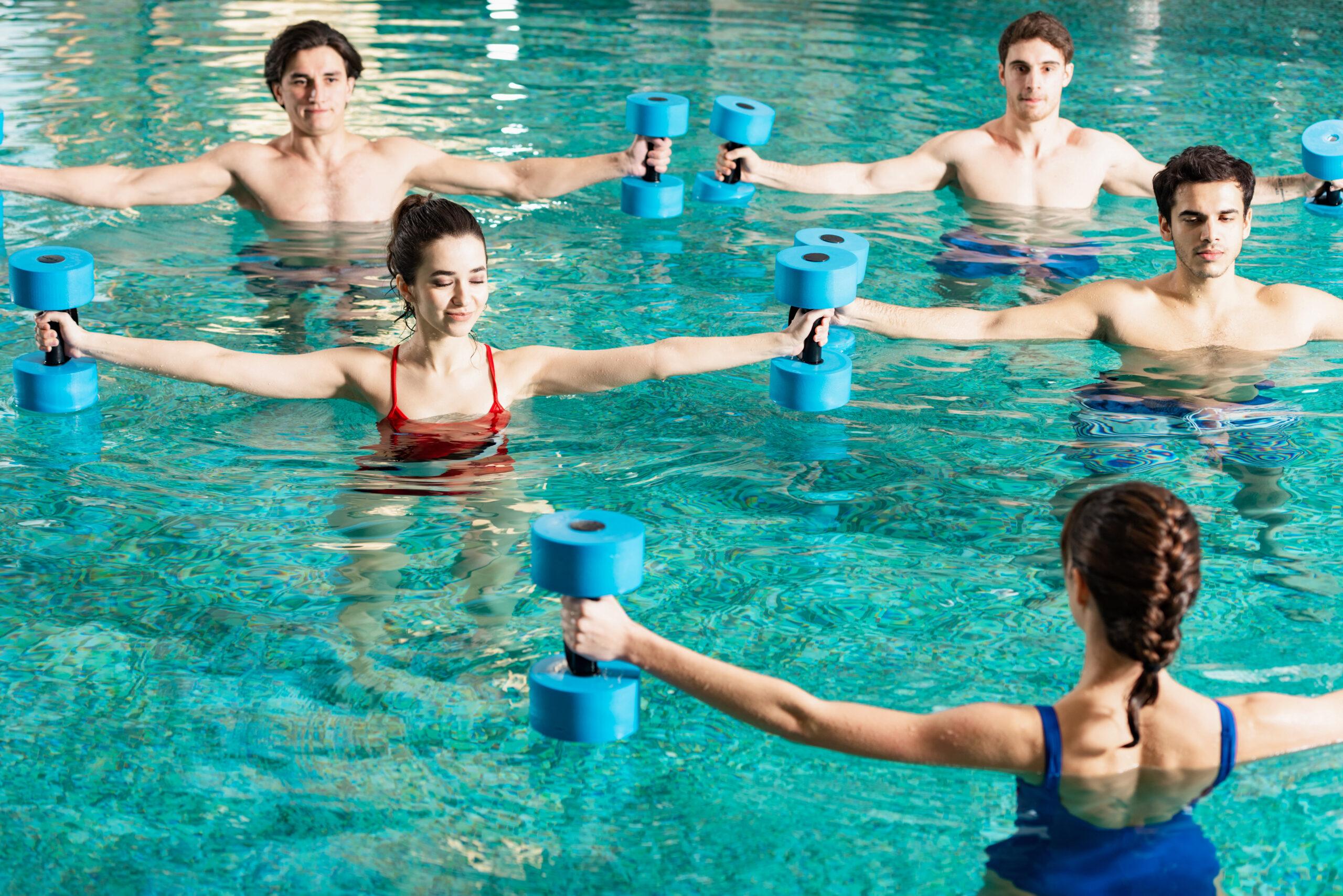 Aquafit class in a pool